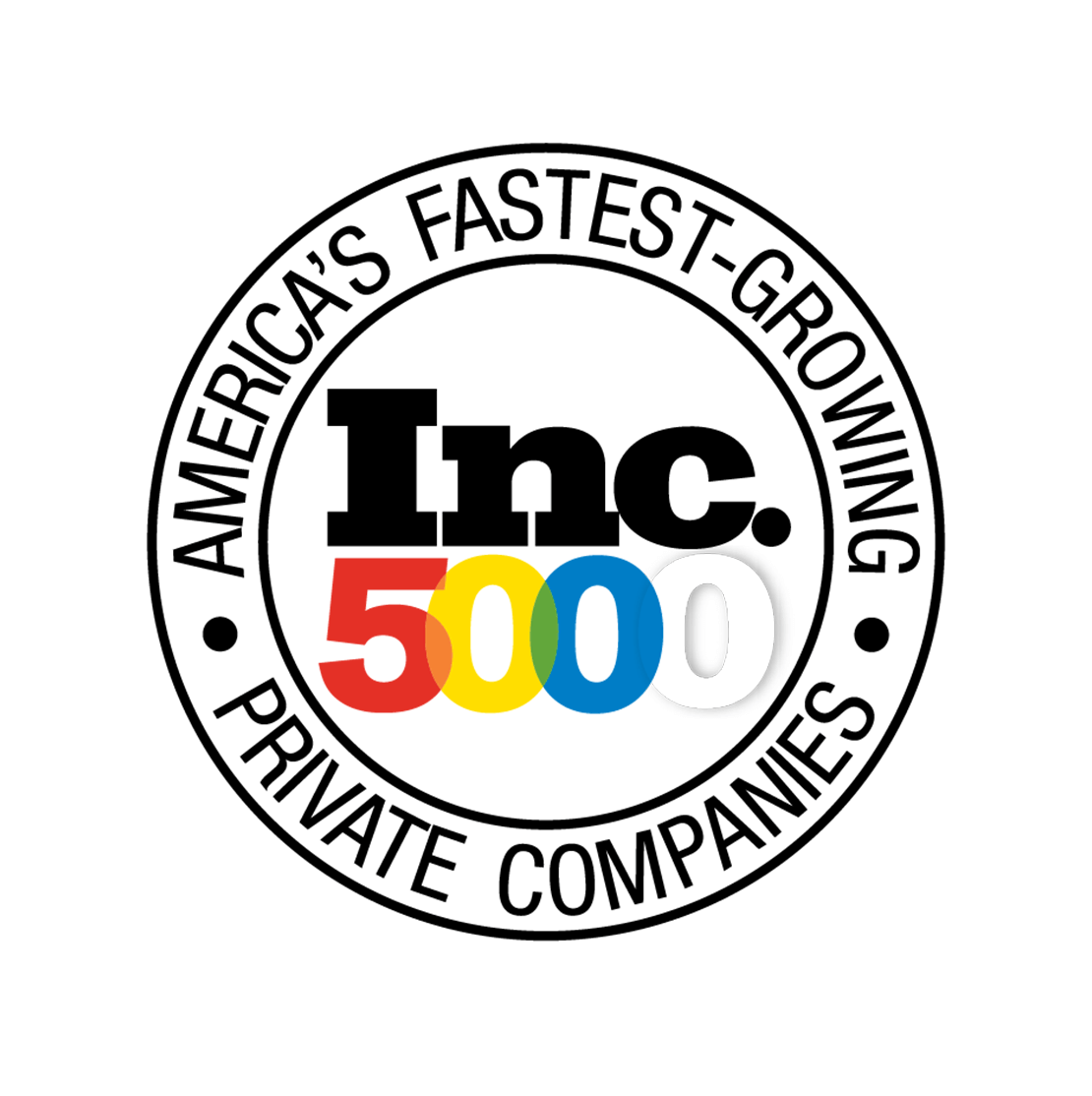 "Inc. 5000 logo with a circle with text that says, ""America's Fastest-Growing Private Companies"" around it"